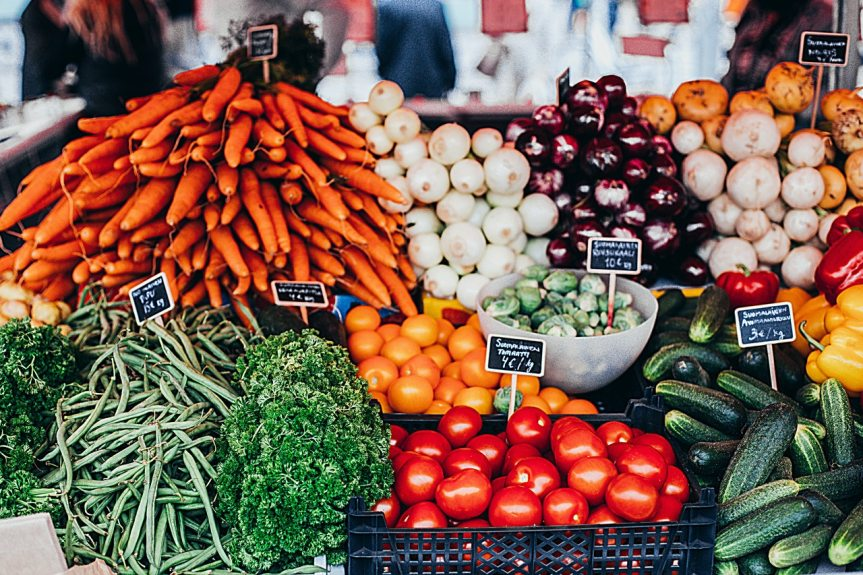 Fresh vegetables and cannabis